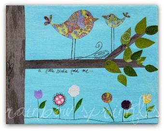 Nursery Wall Art 8x10 Print- bird, tree, spring, flower, Children's Art, Kids Room, Nursery Decor