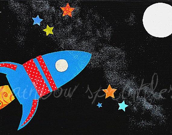 Children's Wall Art Print 11x14- rocket, space, moon, astronaut, outerspace, Kids Art, Kids Room Art, Boys Room Art, Nursery Art