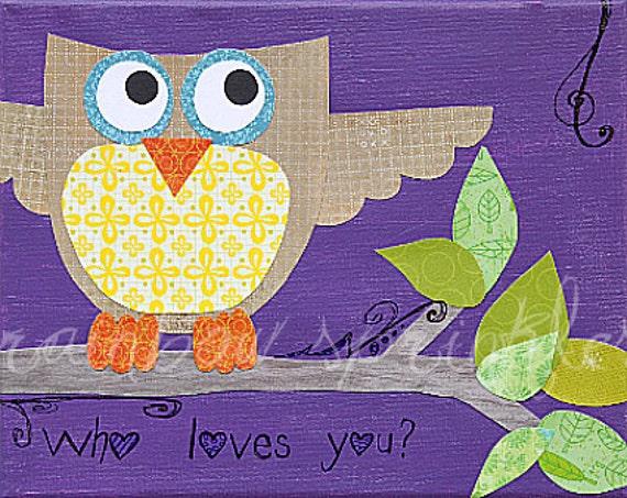 Children's Wall Art Print 8x10- owl, bird, purple, Nursery Art, Nursery Room Decor, Kids Art, Kids Room Art