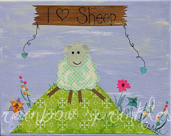 Children's Wall Art Print 8x10- sheep, lamb, love,  Nursery Art, Nursery Wall Art, Nursery Room Decor, Kids Art, Kids Room