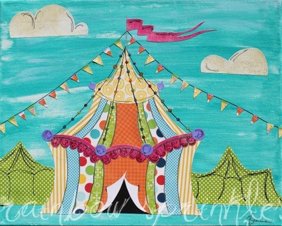 Children's Wall Art Print 8x10- circus, tent, carnival, Kids Art, Nursery Art, kids room art, nursery decor