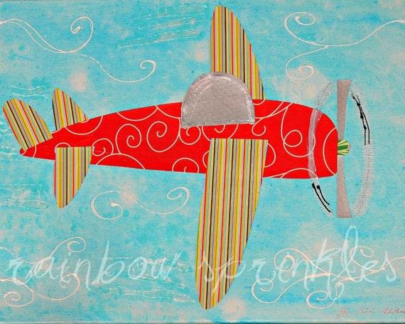 Children's Wall Art Print, 11x14- plane, airplane, boy, kids art, nursery wall art, kids room decor, baby boy nursery