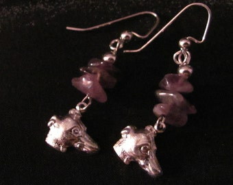 Amethyst Bead Silver Greyhound Earrings Benefit Sale