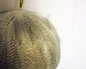 Feather Ornament Black White Stripes mallard duck 3 inch