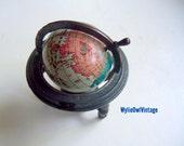 Vintage Die Cast Metal Globe Pencil Sharpener 1970s