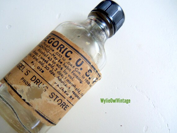 Vintage Paregoric Medicine Bottle 1950s