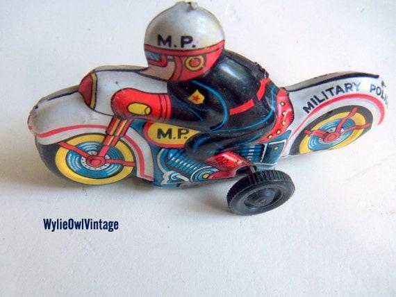 Vintage Military Policeman on a Motorcycle Metal Toy