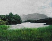Irish landscape original oil painting, Ireland, seascape, sea, coast of Ireland, mist, lush green, Killarny National Park, moody, charming!