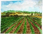 "Print from OOAK watercolor painting, lovely farm, I call ""Happy Landscape""."
