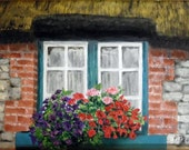 "Irish window oil painting, OOAK oil on panel framed in a gorgeous ""old world"" golden frame"