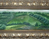 "Italy-Tuscan Landscape, watercolor in an ""Old World"" gold wood frame."