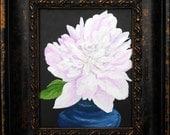 "Peony, acrylic on canvas 8""x10"" original painting"