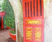 Oil painting of a red door on Marble Mountian, Vietnam