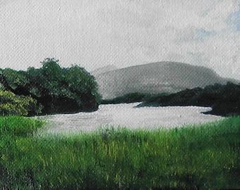 Irish landscape original oil painting, Ireland, seascape, sea, coast of Ireland, mist, lush green, Killarny National Park, moody, charming!