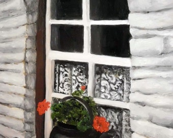 Irish Cottage Window original oil painting framed