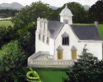 Scottish Manor House, print of an OOAK oil painting on panel for an old world look Scotland