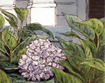 Hydrangea print of an OOAK oil painting