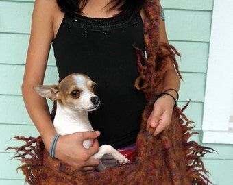 Super Large crazy, wild handknit felted tote or dog carrier.