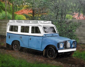 Land Rover oil painting on masonite.  This Land Rover  in all it's glory, can be found in Ethiopia....