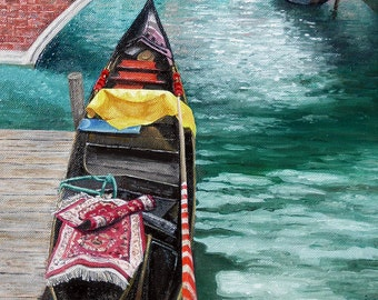 "Original oil painting, ""the Tourist"" Venice, Italy - A gondola waits for it's next passenger..."