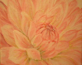 "Original Floral painting 4th in the ""Alphabet Floral"" collection, Dahlia"