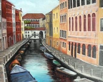 "Oil Painting, Venice OOAK  12""x16"""