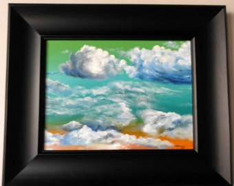 "Cloud painting is original, one of a kind oil on canvas 12""x 16"""