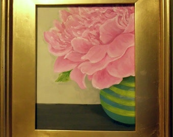 "Valentine's Day Flowers - These don't even have to be watered. 8""x10"" painting in gorgeous ""old world frame"
