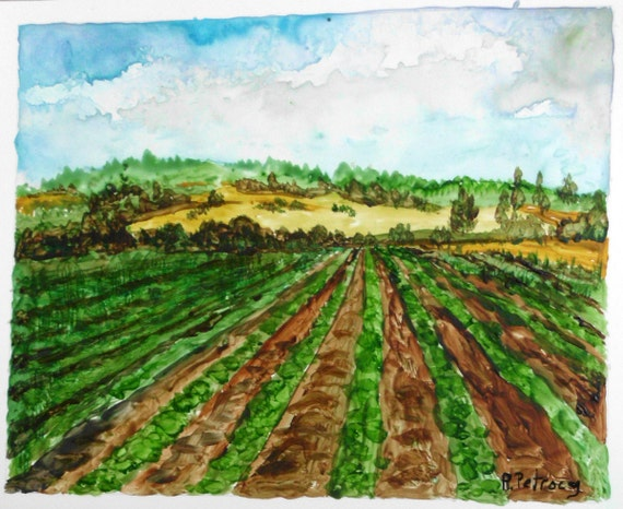 """Print from OOAK watercolor painting, lovely farm, I call """"Happy Landscape""""."""