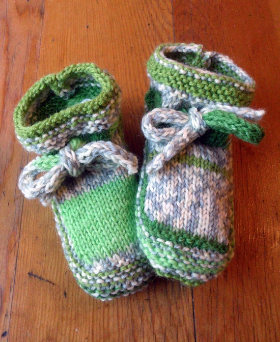 Kids mix-matched slippers in shades of green and grey, makes a Great Christmas Decoration