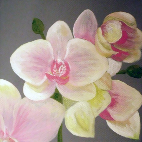 "Orchid original painting in acrylic on 6"" square wide edge canvas."