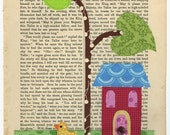 Jacks Beanstalk. Original Fabric Collage stitched to a vintage book page of Grimms Fairy Tales.