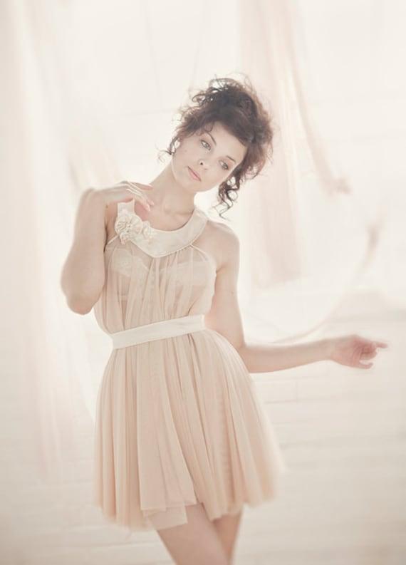 Lingerie babydoll mesh soft vintage short gown