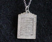 SS-0001 Allah Pendant Islamic Muslim Real Sterling Silver .925 charm Jewelry Islam Ayat al Kursi the Verse of the Throne protection