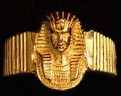SS-0693 Gold Plated Egyptian Pharaoh Ring Silver egypt King tut Pick Your Ring Size We Have Sizes 3 to 14