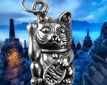 3D Maneki Neko Genuine Authentic Sterling silver .925 Jewelry Lucky Money cat Pendant Charm Buddha Japanese Chinese Japan China