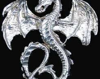 fantasy mythical magic dragon pendant charm silver .925 Real Sterling silver 925 pendant Charm jewelry