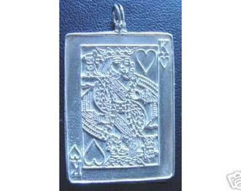 0792 king of hearts pendant charm playing cards jewelry Real Sterling silver 925 pendant Charm jewelry