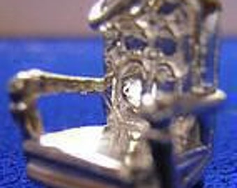 medieval castle throne king 3d chair charm silver 925 Real Sterling silver 925 pendant Charm jewelry