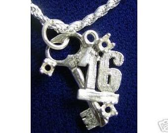 1372 happy birthday key sweet 16 pendant charm jewelry Real Sterling silver 925 pendant Charm jewelry