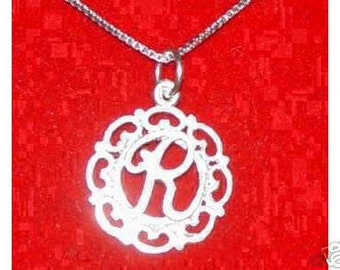 silver pendant charm initial letter r elegant Real Sterling silver 925 pendant Charm jewelry