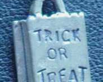 halloween trick or treat candy bag charm silver 925 Real Sterling silver 925 pendant Charm jewelry