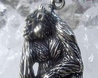 2453 gorilla ape monkey sterling silver charm pendant Real Sterling silver 925 pendant Charm jewelry