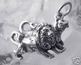 lion lioness sterling silver charm pair love noahs ark Real Sterling silver 925 pendant Charm jewelry