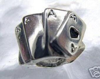 sterling silver 925 poker cards european bead jewelry Real Sterling silver 925 pendant Charm jewelry