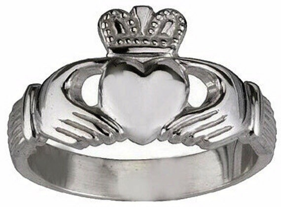 18kt White gold plated Sterling silver .925 Celtic Claddagh Love friendship Best friends ring Irish Jewelry pick your size 3 - 14