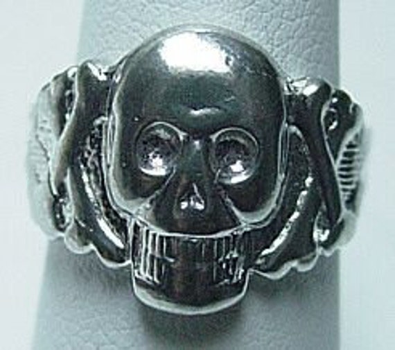 SS-0937 Skeleton Skull and cross bone ring Silver Gothic Pick Your Ring Size We Have Sizes 3 to 14