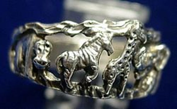 SS-1114 Zoo zebra giraffe elephant tiger sterling silver ring Pick Your Ring Size We Have Sizes 3 to 14