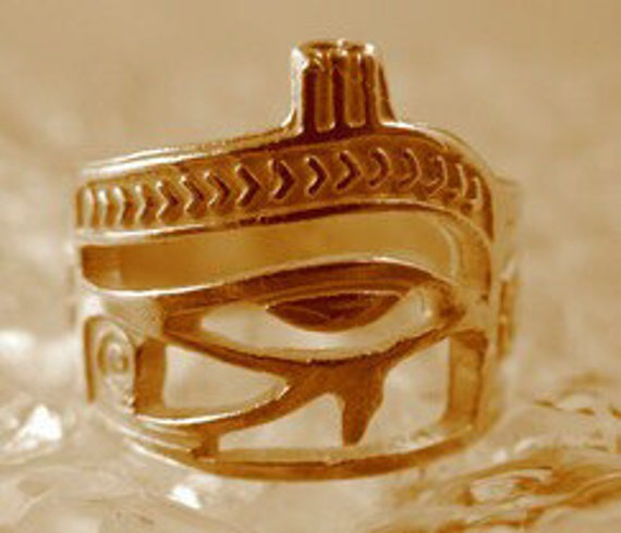 SS-1705 Gold Plated over real solid sterling silver Eye of Horus Ring egypt Scarab beetle Ankh Pick Your Ring Size We Have Sizes 3 to 14