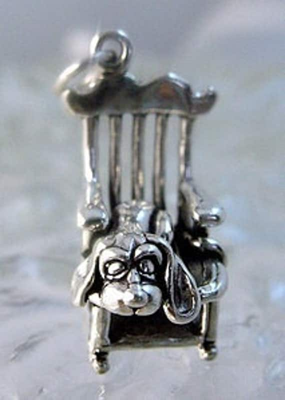 2408 sterling silver basset hound dog sleep chair charm Real Sterling silver 925 pendant Charm jewelry